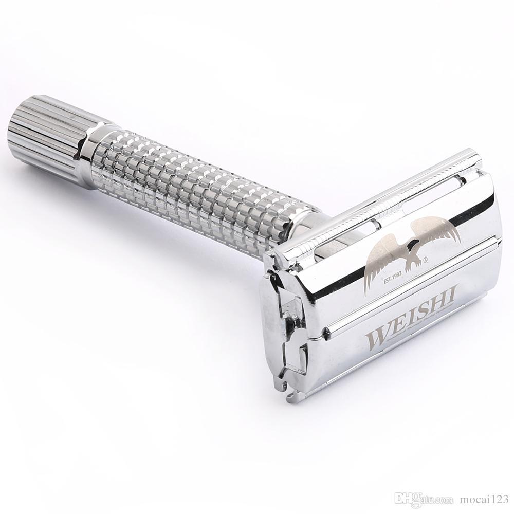 1 Razor 10 Blades WEISHI Men Shaving Double Edge Safety Razor Brass Manual Portable Shaver Butterfly Razors