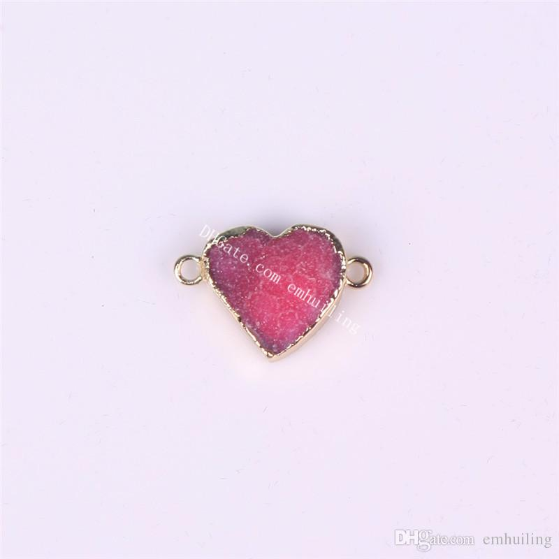 Wholesale Natural Blue Druzy Agate Gems Heart Shape Pendants Double Bail Link Raw Drusy Quartz Plated Gold Connector Charms
