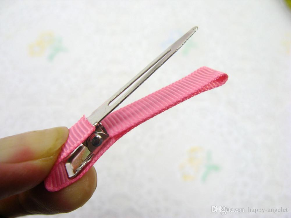 ヘアクリップシングルプリンジクリップグロスグレインリボン裏地カバーアリゲーター女の子髪弓フラワーヘアピンヘッドウェアアクセサリー100ピースFJ3206