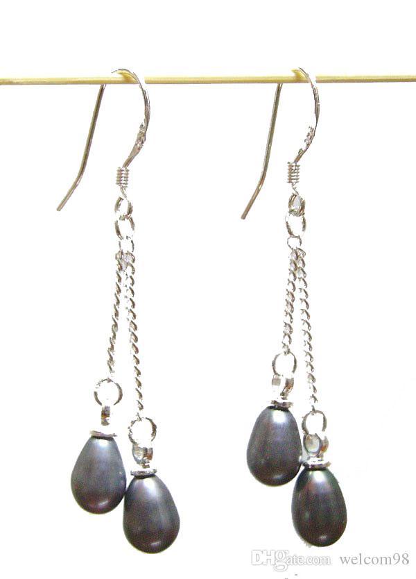 es / noir boucles d'oreilles en argent crochet pour bricolage artisanat bijoux de mode cadeau livraison gratuite C2