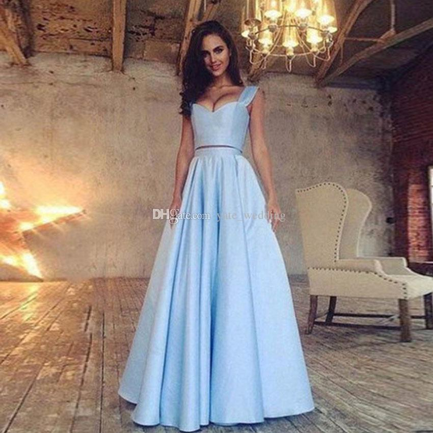 Light Sky Blue Two Piece Prom Dresses Sweetheart Satin Floor Length