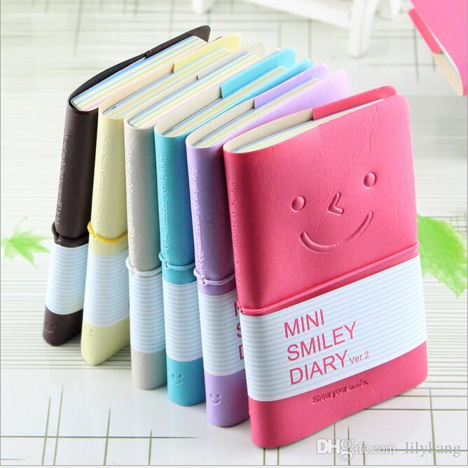 Kawaii Cartoon mini smiley Journal Notepad Diary Vintage Leather Cover Notebook Journal Diary kids notes book gift