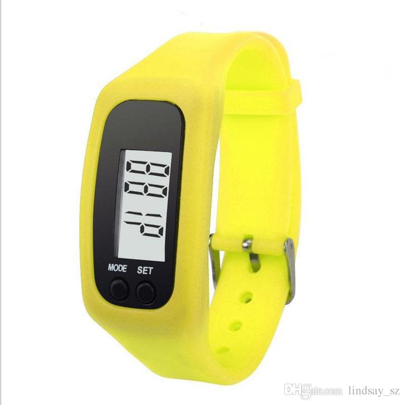 Digital LCD Pedômetro LED Esporte Relógio Correr Passo Curta Distância Contador de Calorias Relógio De Pulso Pulseira transporte rápido
