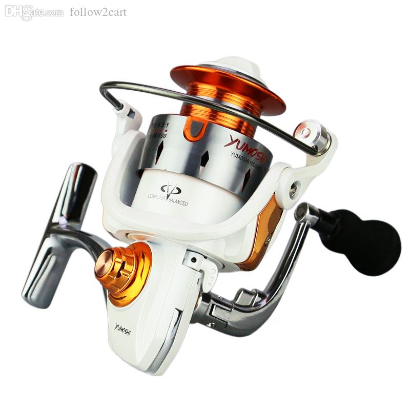 12 + 1BB Rolamentos De Pesca Fiação Carretel FTC1000-4000 Relação Da Engrenagem Da Série 5.5: 1 Alça De Metal Carretel De Metal Bobina De Pesca Roda Tackles Branco