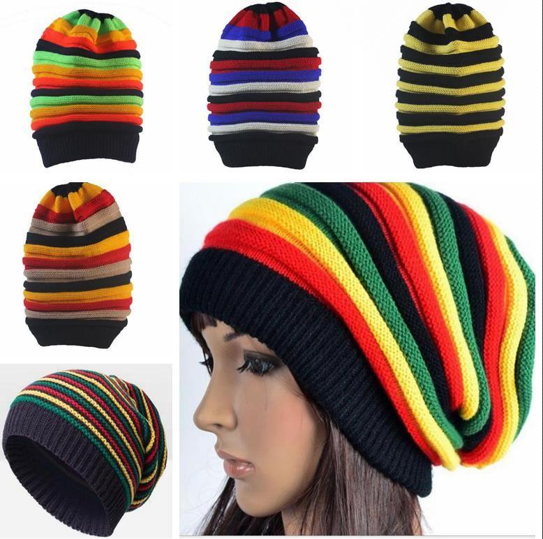 7527aa55499 New Fashion Jamaica Reggae Gorras Rasta Style Striped Beanies Men Women  Autumn Winter Rainbow Knitted Warm Hats Caps Skullies Straw Hats Crochet  Hat From ...