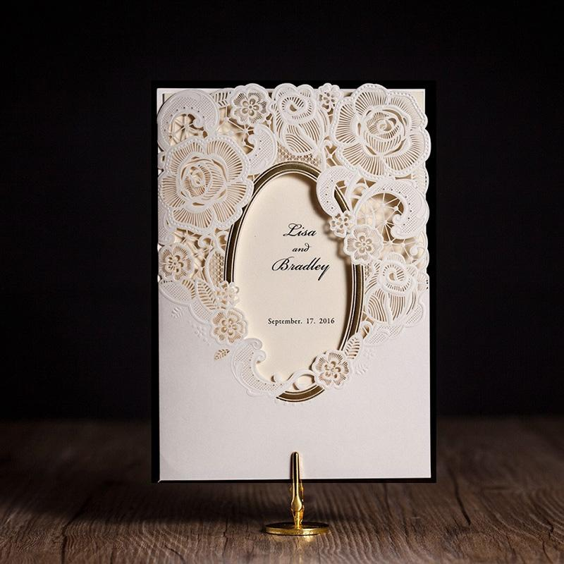 White Mirror Frame Wedding Invitations Elegant Laser Cut Flower ...