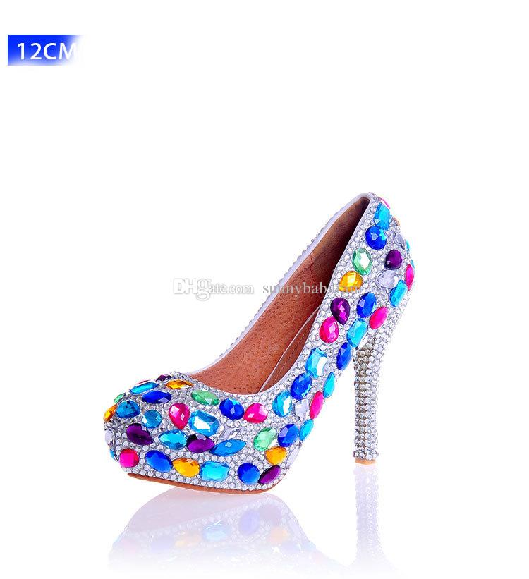 Iridescent Gems Women High Heels Crystals Cinderella Shoes Wedding Bridal Bridesmaid Shoes Prom Evening Night Club Party Super High Heels
