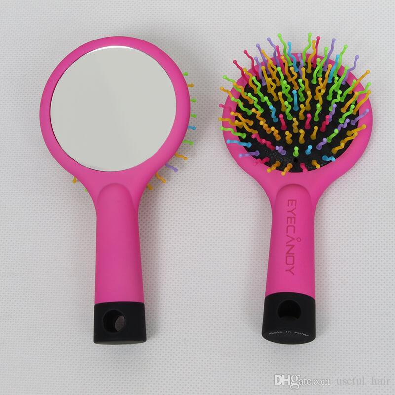Rainbow comb brush mirror Air massage Curly hair extensions comb brush Loop brushes plastic rainbow comb mirror curly hair air health marle