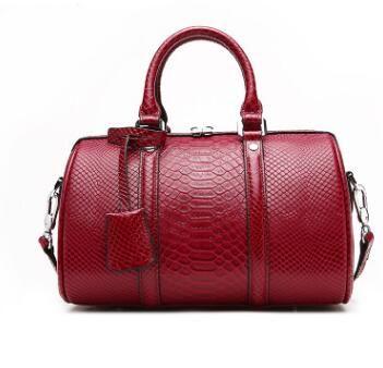 2018 Novelty Vintage Genuine Leather Boston Bag For Women Retro Cowhide Tote Handbag Summer Large Capacity One Shoulder Bag Luggage & Bags