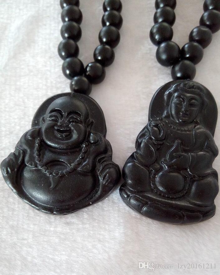 Natural light Black jade Buddha Gan-yin pendant jadeite grade A couple jade manufacturers selling men and women M9