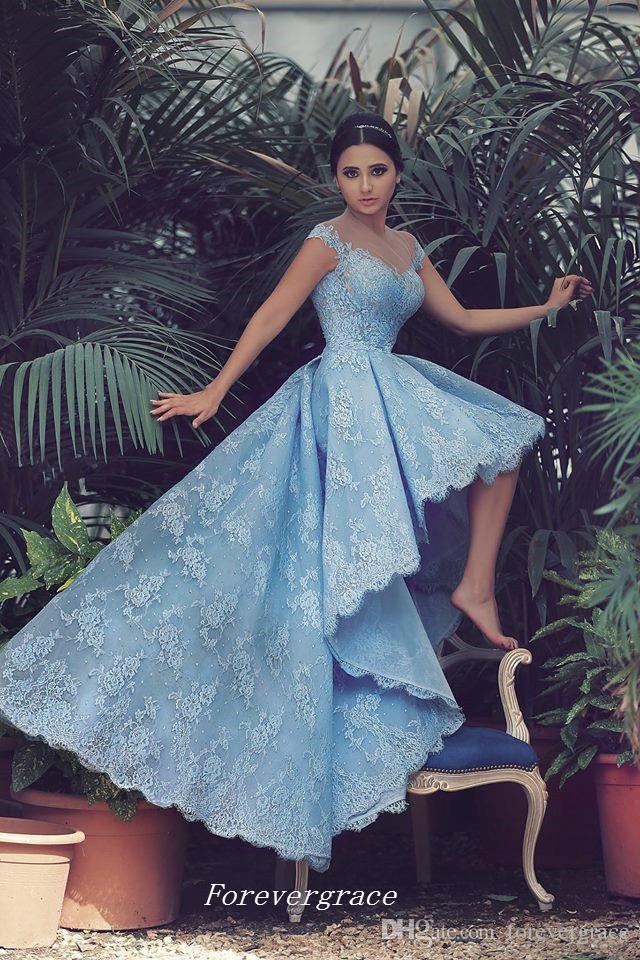Yüksek Kalite Dantel Yüksek Düşük Balo Elbise Yeni Geliş Sky Blue Kapaklı Kollu Genç Parti Kıyafeti Custom Made Artı Boyutu