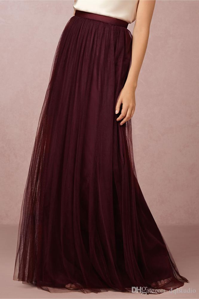 2019 Burgundy Skirts Tulle Long Gray Fancy Women Clothing