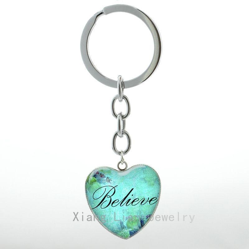 Romantic Heart Shape Pendant Believe Heart Keychain Keyring Faith Hope Love Charm Word Believe Women Jewelry Key Chain Ring H L Rd Keychain