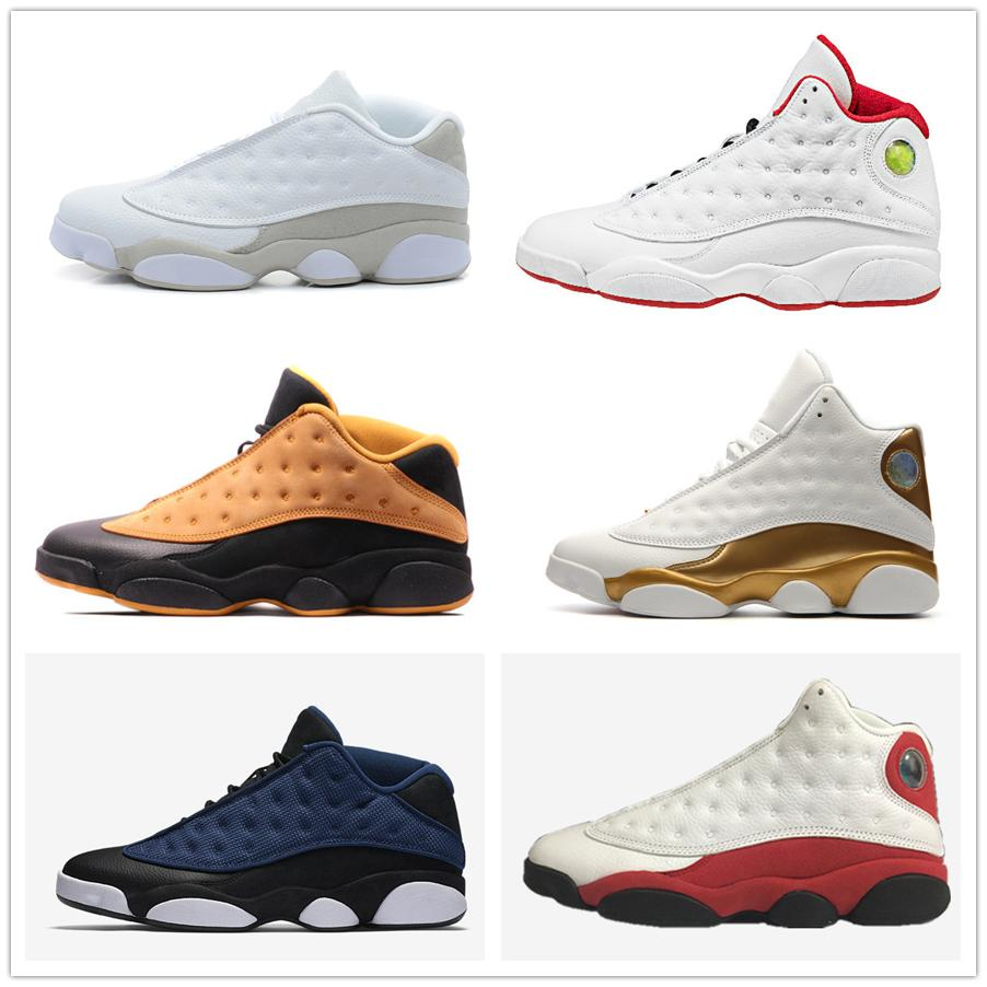 best loved 9b478 90fcd 13s 13 basketball shoes low high white red chutney Chicago pure money DMP  brave blue barons black cat men women sneakers