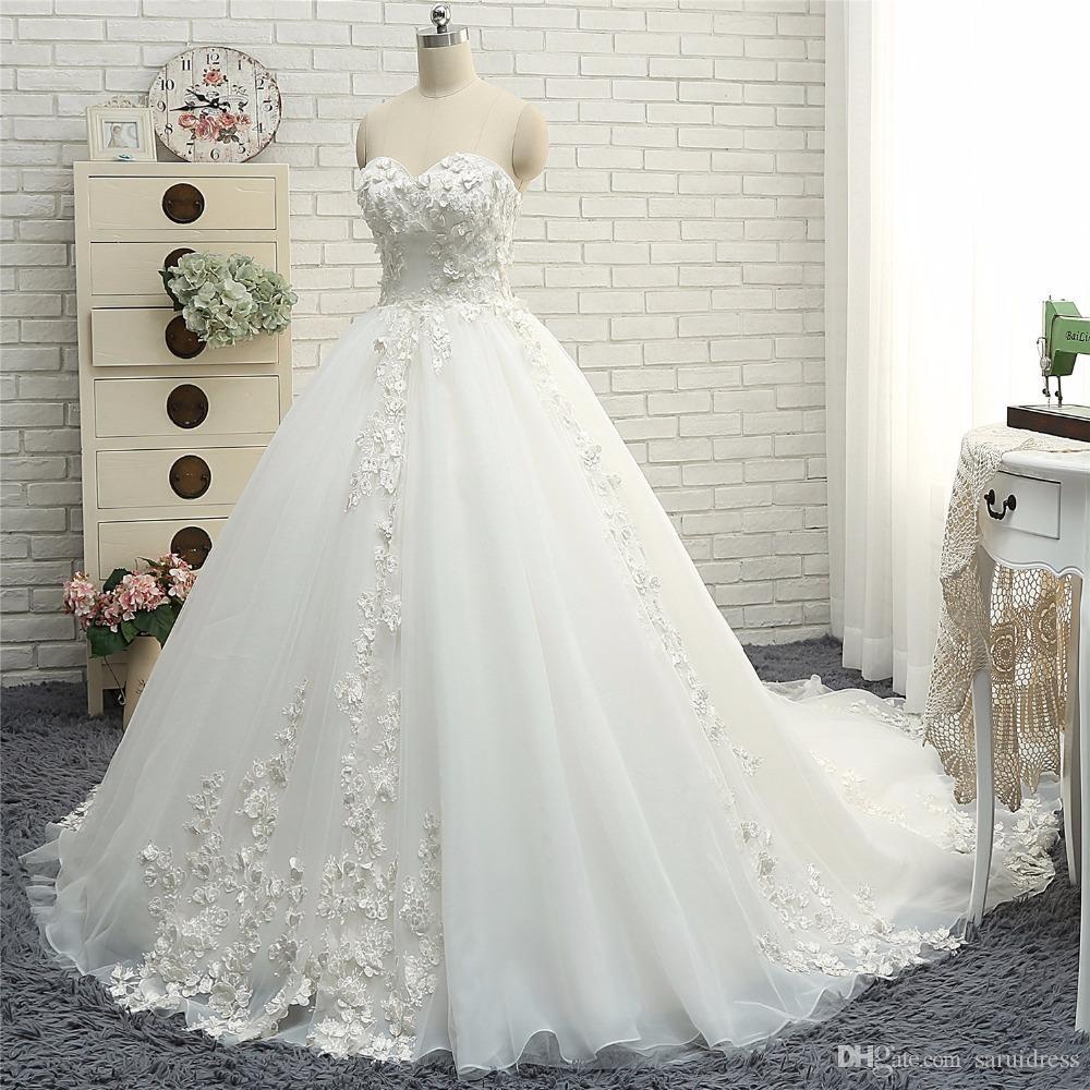 Nowa Moda Koronki Suknie Ślubne Suknie Balowe Sweetheart Dekolt Tanie Bride Dress Gorset Powrót Vestido De Noiva Princesa