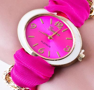 newest factory wholesale janpan battery fashion candy colorful clothing strap cheap fashion watches for women lady girls