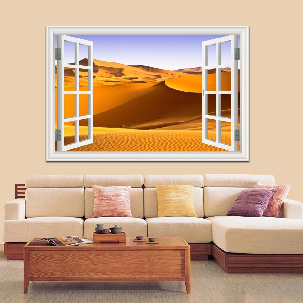 Compre Desert Stickers 3d Landscape Wallpaper Murales Paisaje De La ...