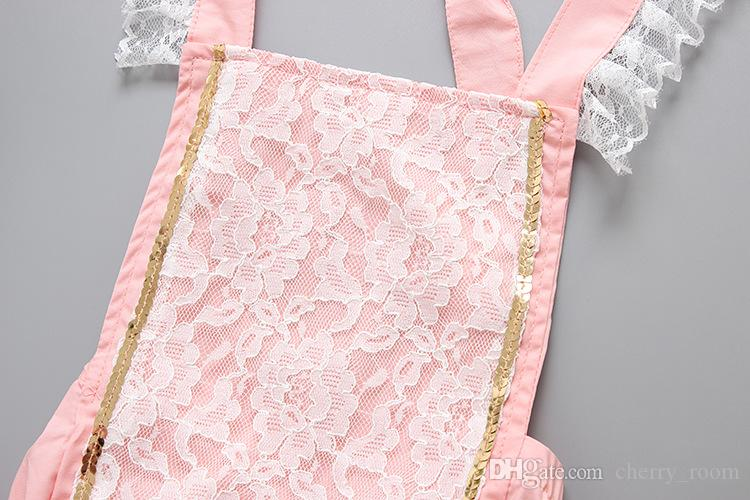 2017 Baby Girls rompers New Floral Lace Princess Toddelr Jumpsuit Korean Fashion Cotton Sequins Onesie Summer Infant one piece Pink A6280