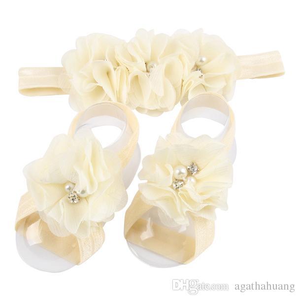 2017 Newborn Baby Chiffon Flower Barefoot Sandals Kids Foot Ornaments Child Infant Frayed Foot Flower With Headband