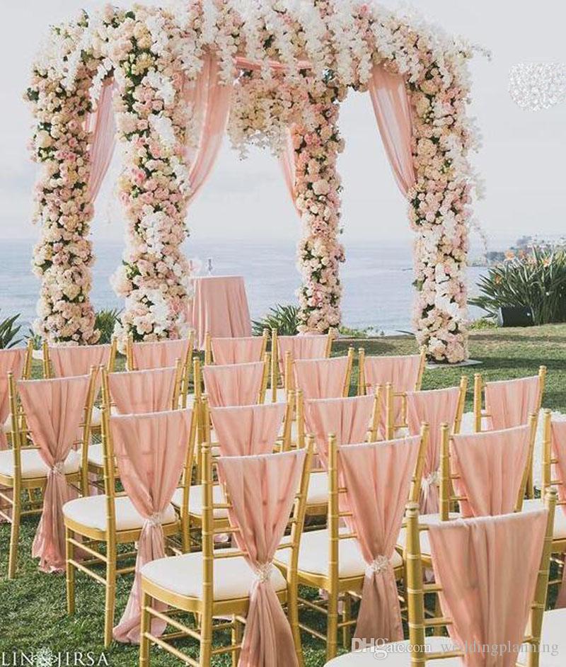 Commercio all'ingrosso di alta qualità 30d chiffon sedia a fianco sedia nuziale fianchi formale partito sedia nuziale coperture in vendita