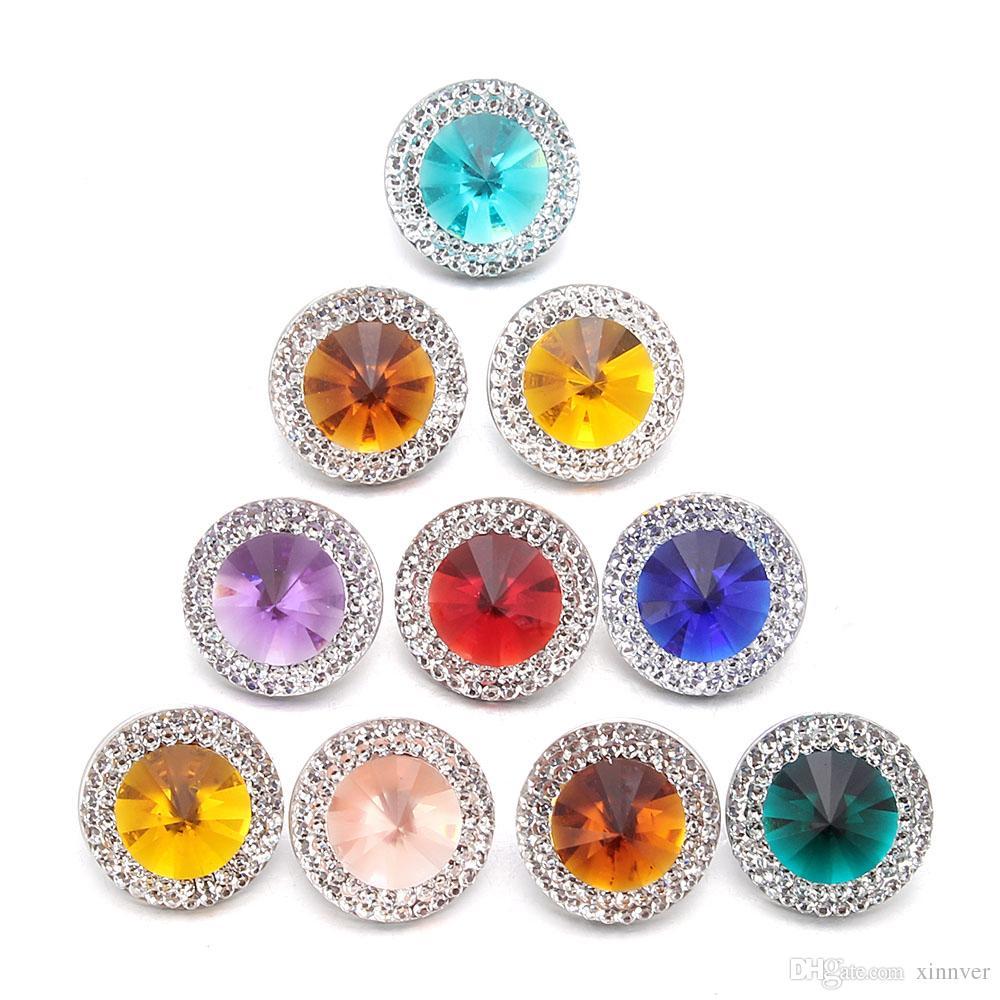 8 renkler Karışık Yapış Takı Renkli Kristal Yuvarlak 18mm Reçine Sequins Yapış Düğmeler Kadınlar Için Fit Yapış Bilezik Bilezik