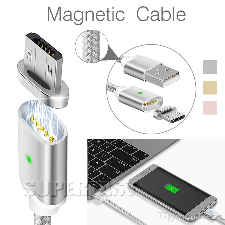 Mirco USB Magnetic Cable LED Display 56K Ohm Resistor 1M/3FT USB Charger For Huawei Android Cellphone with OPP Package
