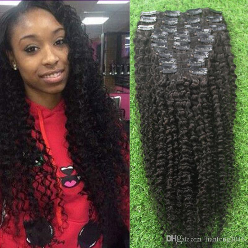 Hot Sale African American Clip In Human Hair Extensions Brazilian