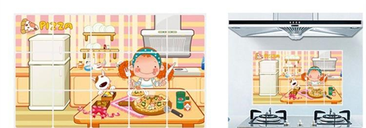 PVC Creative Kitchen Oilproof Wall Sticker Curly Hair Sweetheart Cartoon Waterproof Home Decorative Art Decals Mural