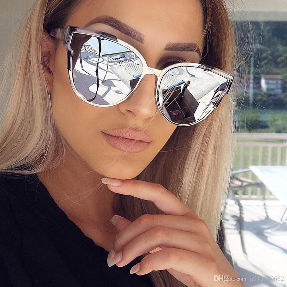 c324a3dc76a5c Compre Cateye Rosa Óculos De Sol Das Mulheres De Luxo Da Marca Espelho  Óculos De Olho De Gato Do Vintage Celebridade Óculos De Sol Dos Homens Do  Sexo ...
