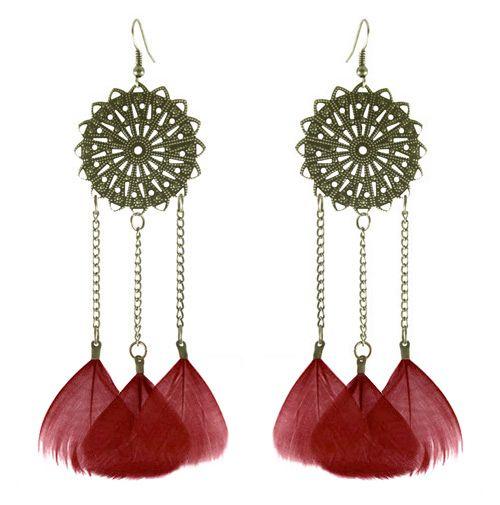Feather Earrings wholesale Cute Chain Round Charm Light Dangle Eardrop Army Green Orange Deep Pink Brown Blue PurpleJF258
