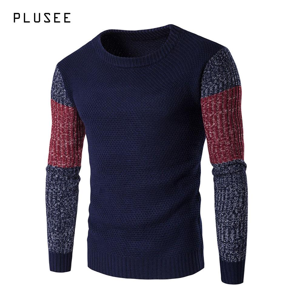 2665a0c24 Wholesale- Plusee Men Sweater Pullovers Long Sleeve Patchwork ...