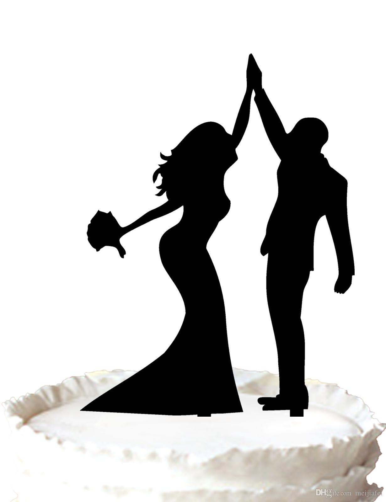2018 Wedding Cake Topper Bride And Groom High Five Silhouette Cake ...