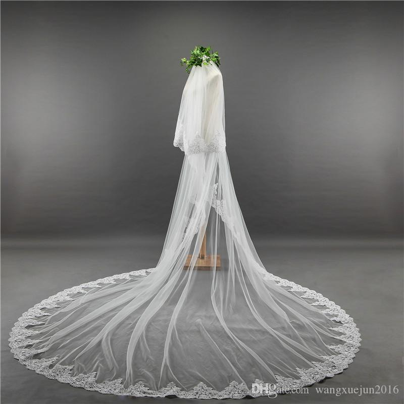 2018 New Arrived Elegant High Quality 3.5 Cathedral Length 3M Width Lace Edge Bridal Veil Wedding Veil With Comb Wedding Accessories