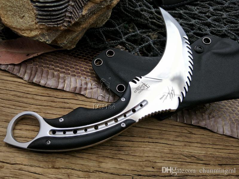 karambits Espelho luz escorpião garra faca acampamento ao ar livre selva sobrevivência batalha karambit cs facas de caça lâmina de auto-defesa ferramenta