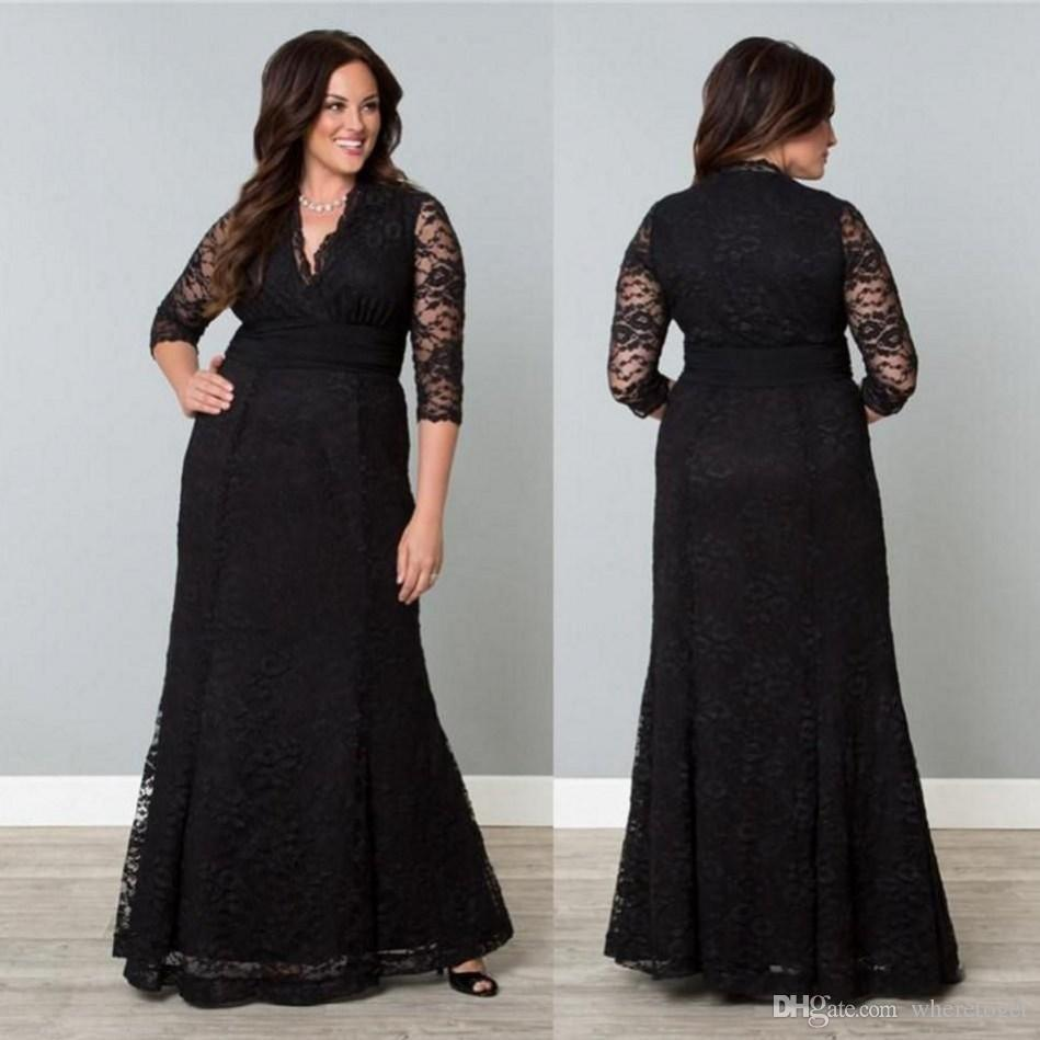 dbb91215101ef 2017 Lace Plus Size Mother Of The Bride Dresses Black Half Sleeves V Neck Floor  Length Cheap Vintage Mother Groom Dresses Evening Gowns Canada 2019 From ...