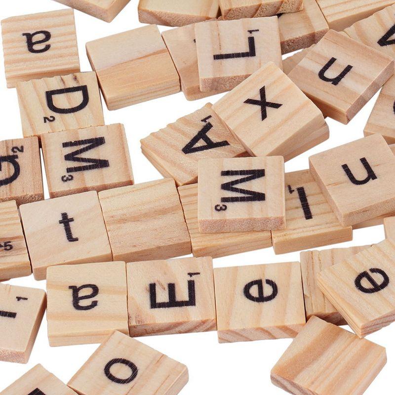 100 шт. деревянный алфавит Эрудит плитки черные буквы цифры для ремесел деревянные игрушки для ребенка горячая