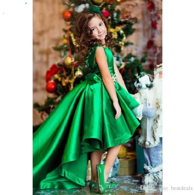 Oi Lo Verde De Cetim Uma Linha Pregas Meninas Meninas Vestidos de Flores Crianças Formal Crianças Vestidos de Aniversário Meninas Pageant Vestidos
