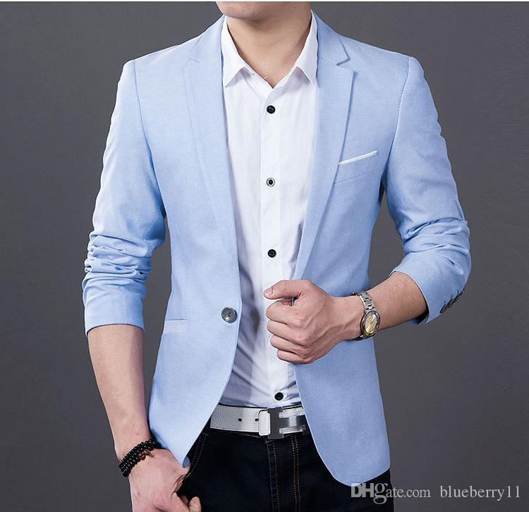 45793d17ea81 Acquista Giacca Da Uomo Casual Blazer Suit Jacket Da Sposo Abiti Da Sposa  Uomo Business Blue And Black After The Slits S 4XL A  38.48 Dal Blueberry11  ...