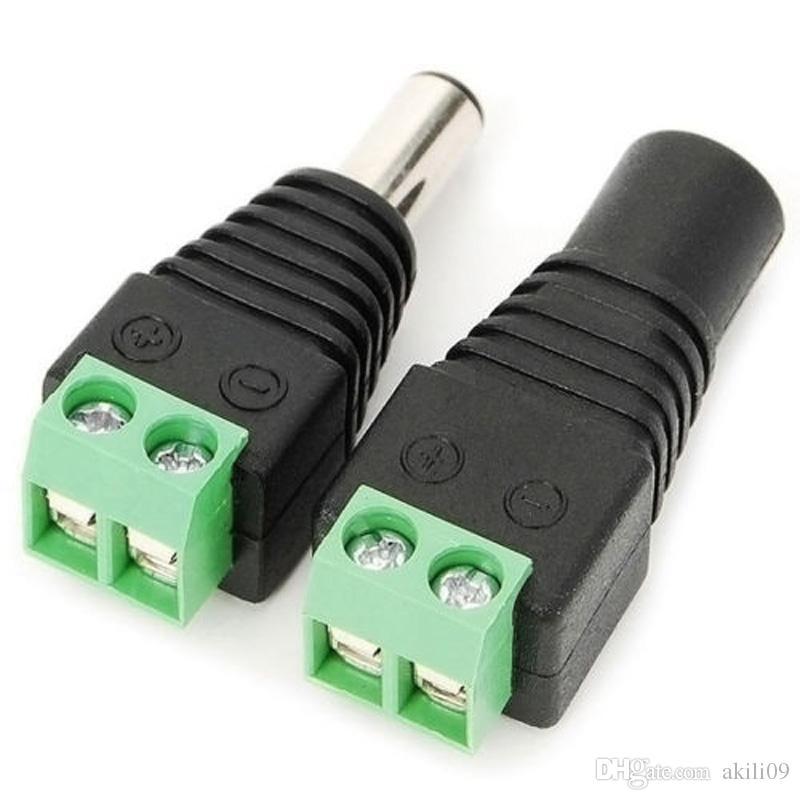 2.1mm x 5.5mm DC Power Female Male Jack Adaptador Cable Enchufe Conector Para CCTV / 5050 3528 LED Strip Light