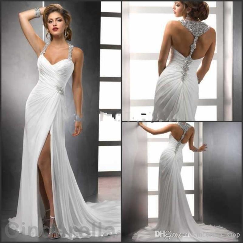 2017 new beading sheath wedding dresses side split spaghetti 15 junglespirit Choice Image