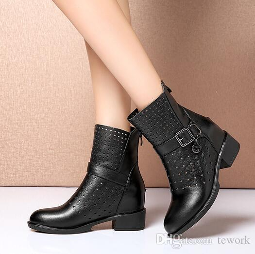 2017 New Shoes Woman Spring/Autumn Ankle Boots For Women Genuine Leather Booties Fashion Hollow Ladies Martin Short boots