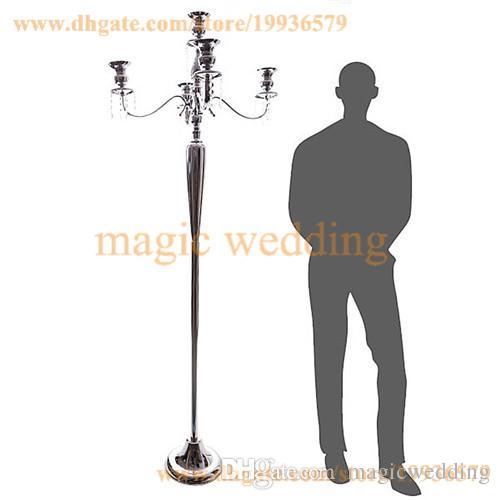 홈 파티 장식에 대 한 크리스탈 구슬 매달려 함께 5 피트 높이 5 암 흰색 골드 실버 층 Candelabra