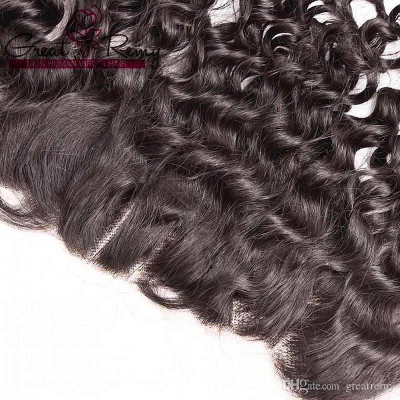 ウォーターウェーブ13 * 4耳の耳のレースの前頭閉鎖8-26インチ未処理のブラジルのバージン人間の毛髪ピースgretremy
