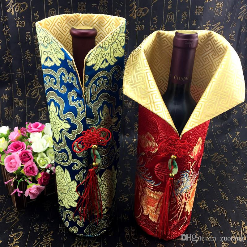 Chinese knot Christmas Cover Wine Bottle Bag Table Decoration 750ml Wine Bottle gift bag Silk brocade Red Wine Clothes fit 750ml