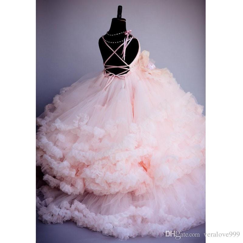 Meninas Vestidos de Festa de Casamento Rosa Vestido de Baile Rosa Linda Florista Vestido Da Menina 2017 Longo Tulles Bebê Menina Da Criança Pageant Vestidos Crianças Formais