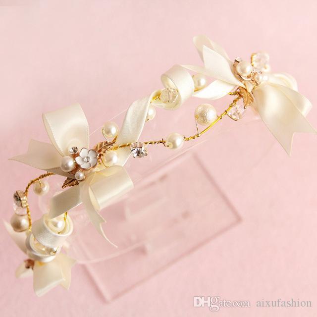 New Unique Designs Baroque Satin Butterfly Crown Hair Jewelry Headpieces Princess 2017 Handmade Beads Wedding Hair Accessories Headband