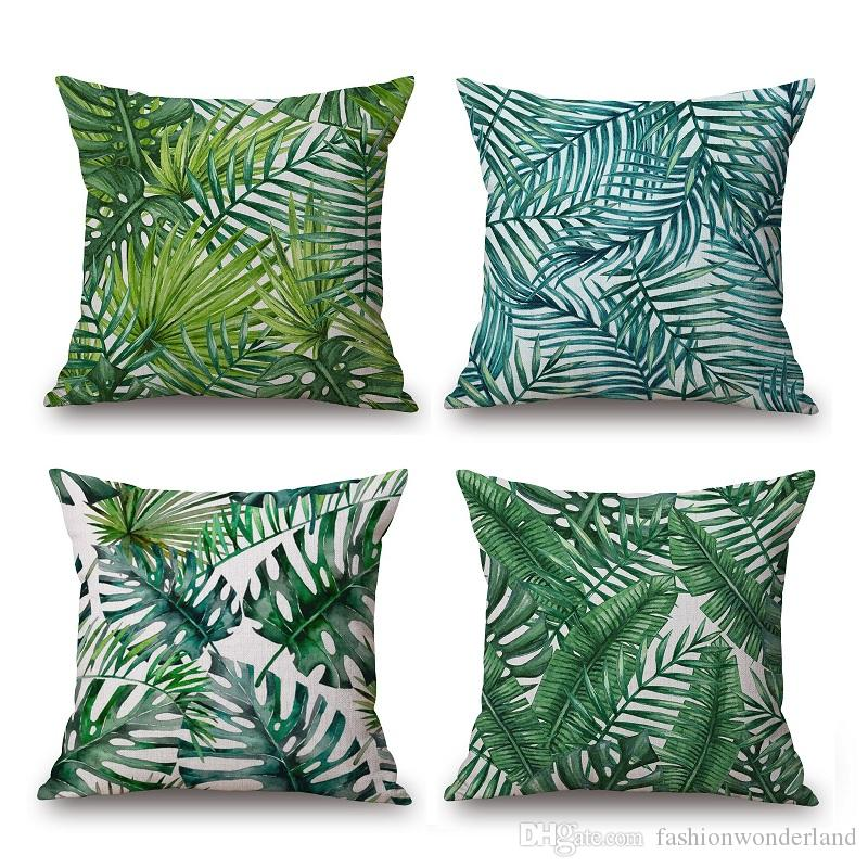 Palm Leaf Cushion Cover Tropical Plant Thick Linen Cotton Pillow Cover 12  Styles 45x45cm Bedroom Sofa Decoration Patio Throw Pillows Patio Furniture  ...