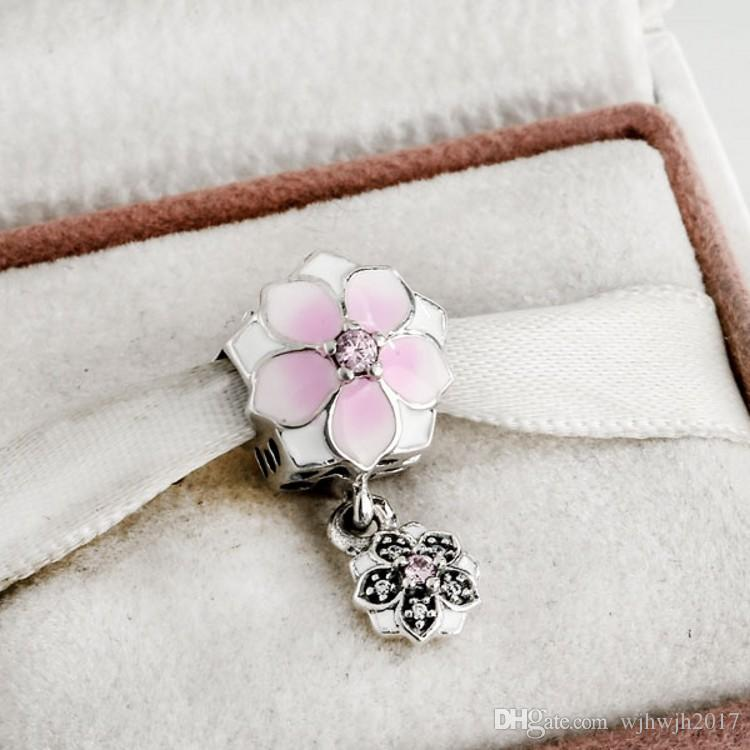 Pink Enamel Magnolia Bloom Charms Beads 925 Sterling-Silver-Jewelry Pave Crystal Flower Bead For DIY Brand Bracelets Jewelry Making