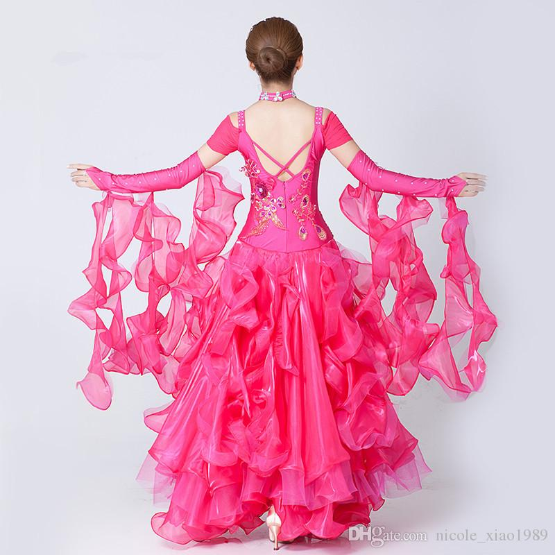 Hochwertige Diamant Stickerei Kleid modernen Tanz Walzer Tango Foxtrot Quickstep Kostüm Wettbewerb Kleidung Standard Ballroom Dance Rock 01