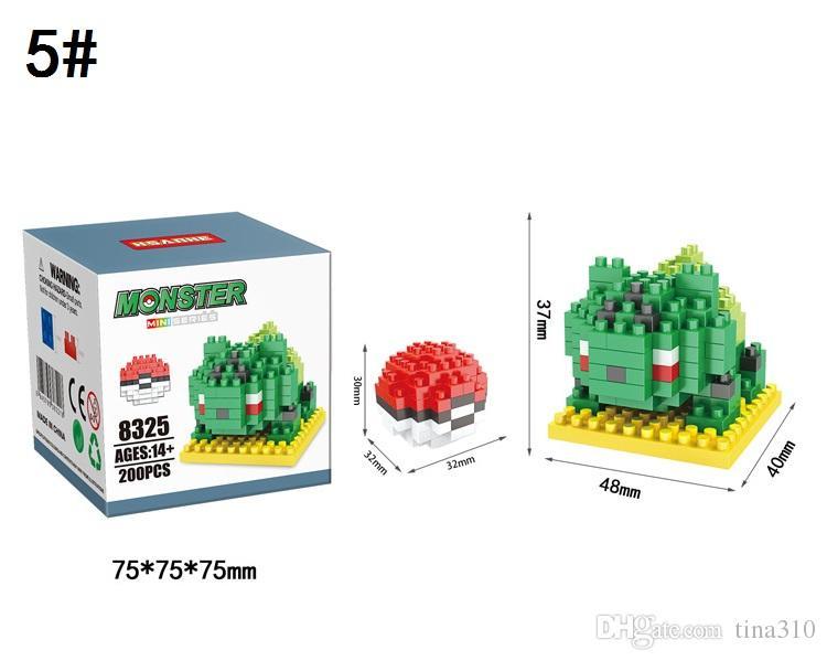 Toptan-Yeni Karikatür Yapı Taşları Pikachu Blokları Plastik Montajları Çocuk Oyuncakları Noel Yapı Taşları Oyuncak Blokları A0534